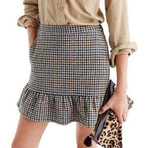 J. Crew Ruffle Houndstooth Mini Skirt